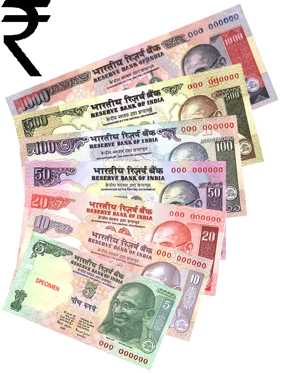 Indian rupee sign and notes